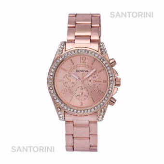 GENEVA Jam Tangan Wanita Analog Fashion Women Diamond Strap Stainless Steel Quartz Wrist Watch - ROSE GOLD