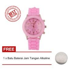Geneva - Jam Tangan Wanita - Pink - Strap Karet - KRT1025PNK1