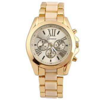 GENEVA Jam Tangan Wanita Watches Analog Fashion Women Steel Casual Wrist Gold Alloy Watch