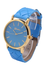 Geneva New Style The Grid Leather Belt Quartz Wristwatches (White) (Intl)