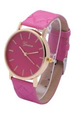 Geneva New Style The Grid Leather Belt Quartz Wristwatches (Rose Red)