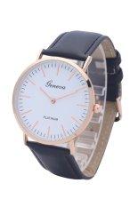 GENEVA Brand Big Gold Dial Small Leather Watch Fashion Ladies Dress Casual Quartz Watch (Black) (Intl)