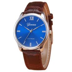 Geneva Platinum Jam Tangan Pria Tali Kulit Formal Kerja Analog Leather Strap Wristwatch Casual Elegan Eksklusif Wrist Watch Men Fashion Stylish Trendy Model Baru - Coklat