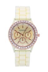 Geneva Silicone Belt Golden Crystal Stone Quartz Jelly Wrist Watch (Beige) (Intl)