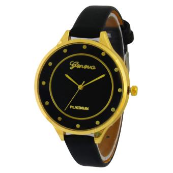Geneva Small Gold Case Jam Tangan Wanita - Hitam - Kulit - Gnv SGC 0115 BLK