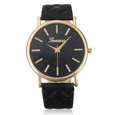 Geneva Women Casual Roman Black Leather Strap Wrist Watch