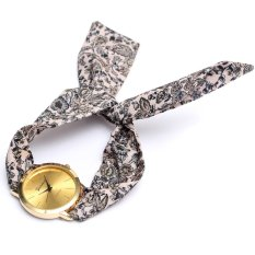 Geneva Women Floral Cloth Band Analog Quartz Wrist Watch - Intl