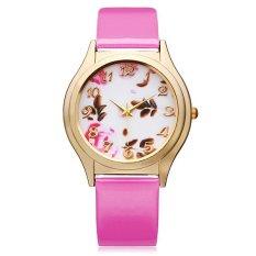 Geneva Women Flower Patten Dial Leather Wrist Watch