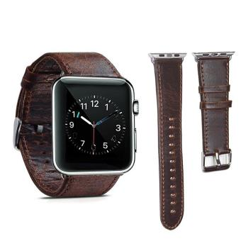 Genuine Leather 42mm Replacement Band with Secure Metal Clasp Buckle for Apple Watch Sport Edition -