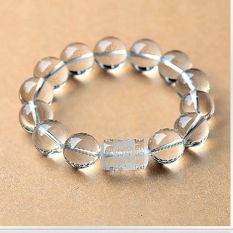 Genuine Natural White Crystal Bracelet White Crystal Bracelet Mantra Transport Evil Male And Female Models -12 Mm Single White Crystal Beads