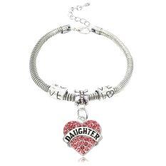 Gift For Daughter Silver Pink Crystal Love Heart Charm Pendant Bracelet Family Bangle Adjustable Girl (Intl)