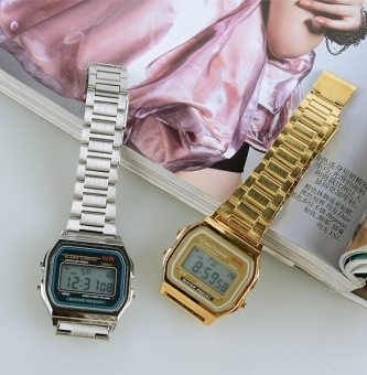 Gold & Silver Couple Watch Electronic Digital Clock With Led Light Clock (Silver)