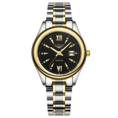 Guanqin Women Quartz Waterproof Diomand Luminous Steel 26mm Watch (Gold Black)