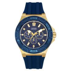 Guess - Jam Tangan Pria - Gold-Biru - Rubber Biru - W0674G2