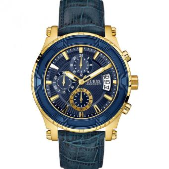 Guess W0673G2 PINNACLE - Jam Tangan Pria - Blue - Leather - Gold - Case -