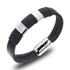GUYUE Men's Fashion Genuine Leather Rope Bracelet Bangle Mix Stainless Steel Titanium Steel Black