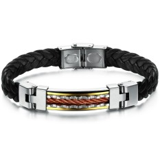 GUYUE Men's Fashion Genuine PU Leather Braided Bracelet Bangle Mix Stainless Steel Titanium Steel with Gold Rope