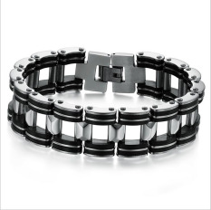GUYUE Men's Fashion Genuine Silicone Stainless Steel Hollow Chain Link Bracelet Bangle