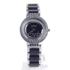 GZ-SMT Luxury Women's Watch KIMIO Brand Women Rhinestone Watches Plastic Strap Lady Quartz Wristwatch with Diamond Top Sell K485M-SB Black + Silver