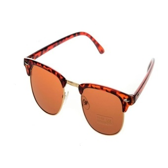 Half Gold Frame Style Sunglasses Vintage Retro Unisex Sunglasses Gilded Leopard
