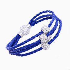 Handmade New Fashion Jewelry Rhinestone Polymer Clay Beads Pendant Friendship Multi Layer Deep Blue Leather Woven Bracelet For Women (Intl)