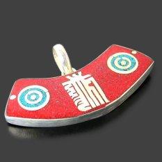 Handmade Tibetan Silver Gemstone Lucky Pendant From IndiaRed