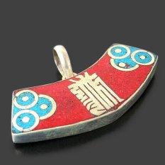 Handmade Tibetan Silver Gemstone Lucky Word Pendant From India