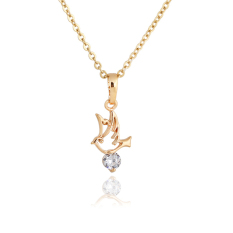 HAOFEI Flying Birds Crystal Necklace Woman Pendant Chain Jewelry Gold Fil - INTL