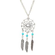 HAOFEI Turquoise Stone Bead Dreamcatcher Feather Charm Pendant Necklace - Intl