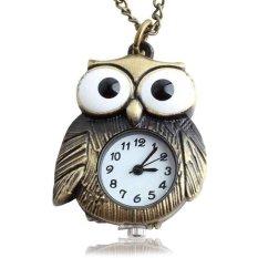Happycat Retro Vintage Style Punk Steampunk Quartz Pocket Watch Chain Owl Pattern Necklace Bronze I_B ()