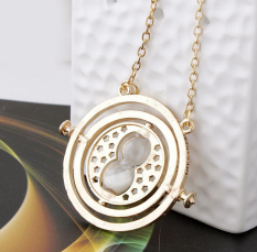 Harry Potter Time Turner Necklace Hermione Granger Rotating Spins Gold Hourglass Gold&White