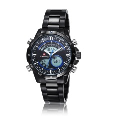 Hazyasm Brand Male Watch Men Strip Naviforce Fashion LED Dual Display Electronic Watches (Blue)
