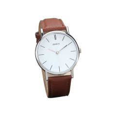 HDL New Womens Retro Design Leather Band Analog Alloy Quartz Wrist Watch Brown