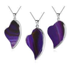Heart Shape Pure Purple Agate Natural Stone Pendant Necklace N009-B (Purple)