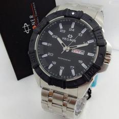Hegner 366 - Jam Tangan Formal Pria - Design Simple Exclusive - Executive Fiture - Stainless - Full Black
