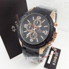 Hegner - Jam Tangan Formal Pria - Stainless Steel - HG 394 Black Gold