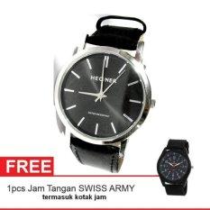 Hegner Man Watch Jam Tangan Pria - Hitam - Strap Kulit- HM0964 + Gratis Jam Tangan Swiss Army (Int: One Size)