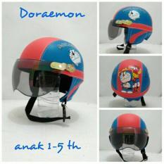 Helm Anak Lucu Karakter Doraemon usia 1 - 5 Tahun + Kaca Riben - Biru/
