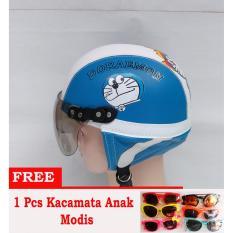 Helm anak Retro Lucu motif Doraemon 1-5 Thn - Putih/Biru Free Kacamata