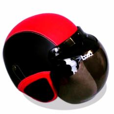 Helm Retro Bogo Kulit Klasik Kaca BOGO Original - Hitam Merah