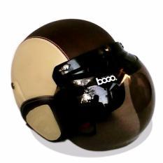 Helm Retro Bogo Kulit Klasik Kaca BOGO Original - Kream Coklat Tua