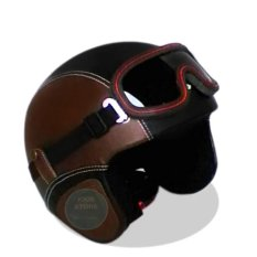 Helm Retro Full Synthetic Leather dewasa / Remaja + Kaca Mata - Coklat/Hitam