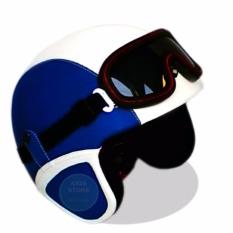 Helm Retro Kacamata Klasik Full Synthetic Leather - Biru Dongker Putih