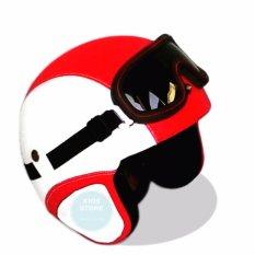 Helm Retro Kacamata Klasik Full Synthetic Leather - Putih Merah