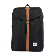Herschel Post Classic Backpack - Hitam-Tan Synthetic Leather
