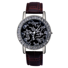 High-grade Diamond Inlay Female Watch Leather Quartz Watch (Brown Black)