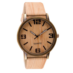 High Quality Classical Wooden Watch Women Wristwatches Vintage Style Men Dress Watch PU Leather Quartz Watch (Intl)