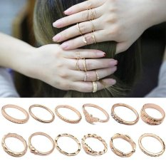 High Quality Store New 12Pcs/Set Boho Vintage Finger Ring Crystal Rhinestones Midi Knuckle Rings Women Jewelry Multicolor - intl