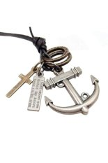 HKS Anchor Cross Leather Necklace Silver (Intl)