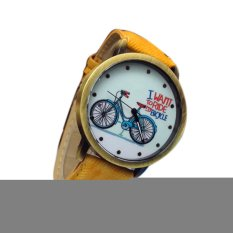 HKS Bicycle Pattern Unisex Yellow Leather Strap Watch (Intl)